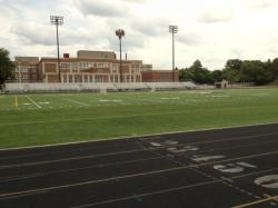 Looking across the football field to Ramsey Middle School.